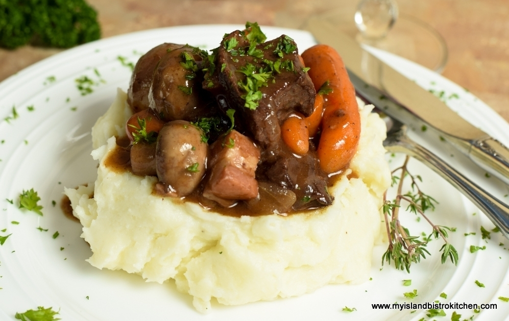 Bistro Style Beef Bourguignon Served with Whipped Garlic Seasoned Mashed Potatoes