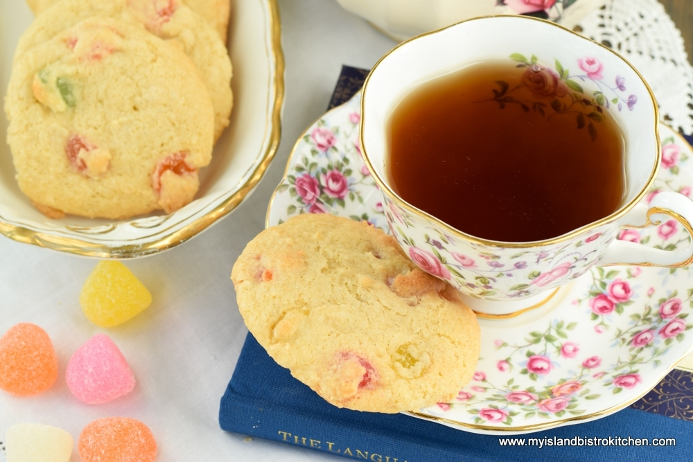 Gumdrop Cookie on saucer of pink and purple china cup and saucer
