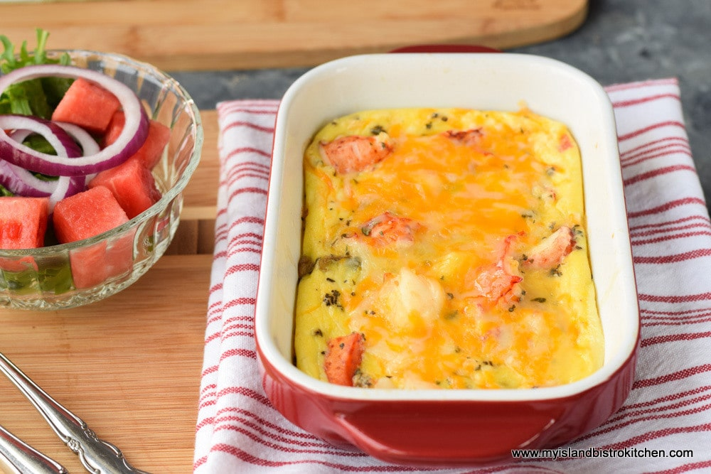 Baked Lobster Frittata with a side green salad