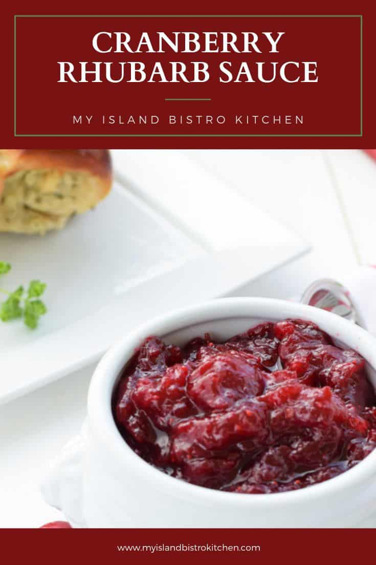 White bowl filled with Cranberry Rhubarb Sauce
