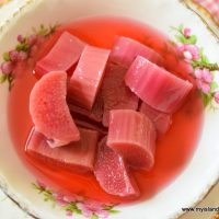 Bowl of stewed rhubarb