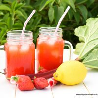 Drinking jars filled with Strawberry Rhubarb Lemonade