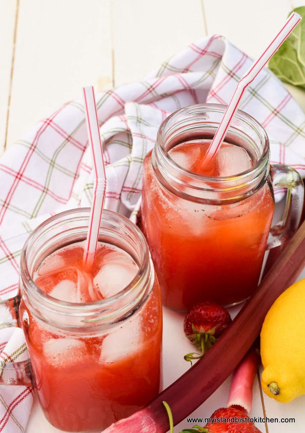 Jars of Strawberry Rhubarb Lemonade