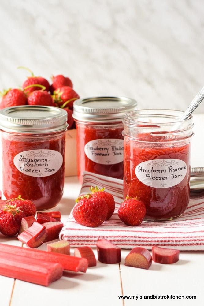 Jars of Strawberry Rhubarb Freezer jam