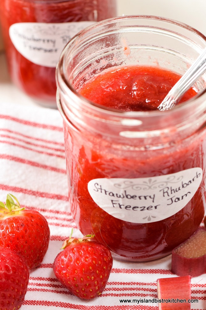 Open jar of Strawberry Rhubarb Freezer Jam