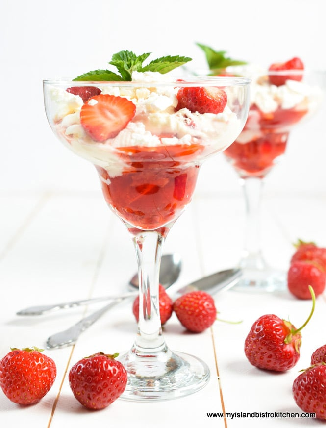Dessert glasses filled with Strawberry Eton Mess