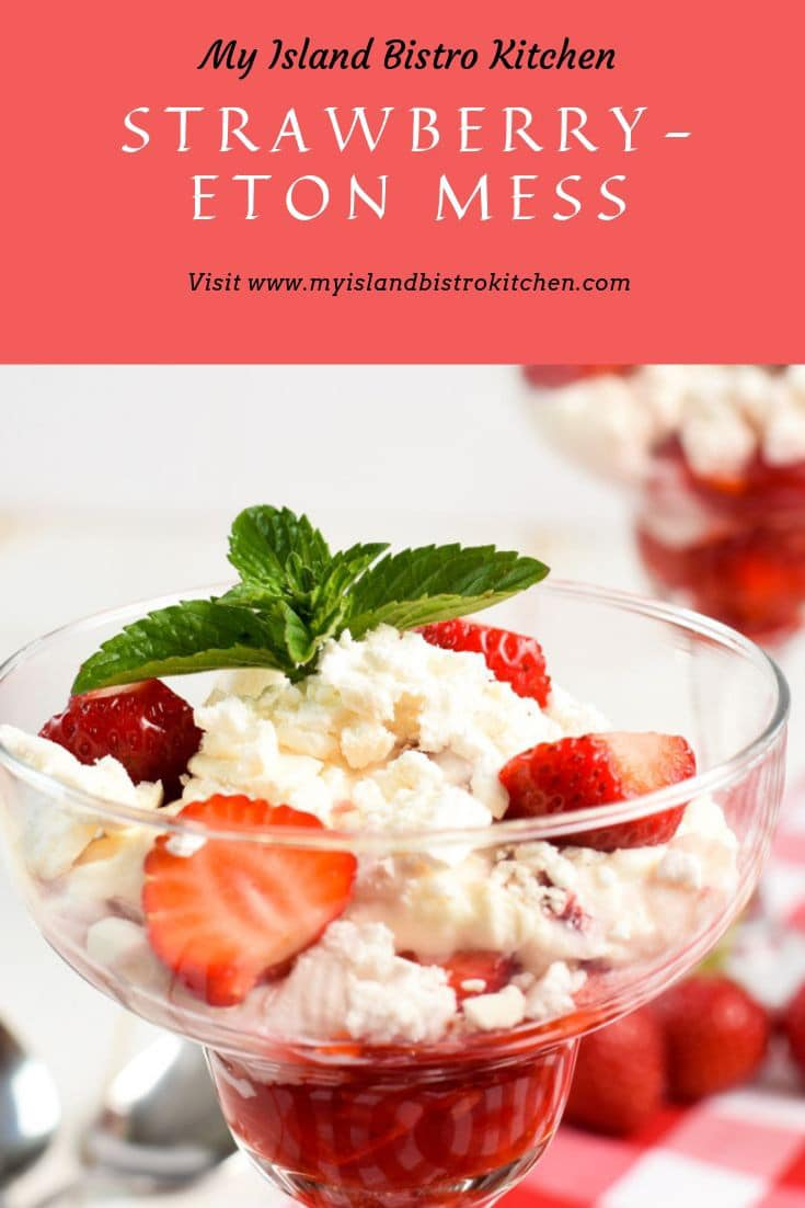 Strawberry Eton Mess in glass dessert dishes