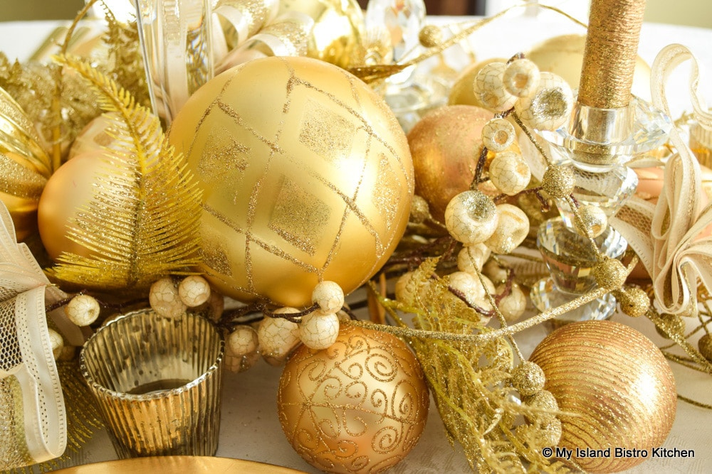 Gold Christmas Table Centerpiece