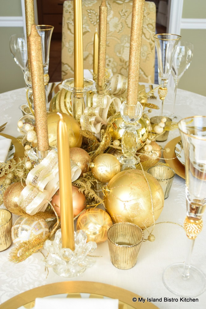 Glamorous Gold Plated Christmas Table Centerpiece