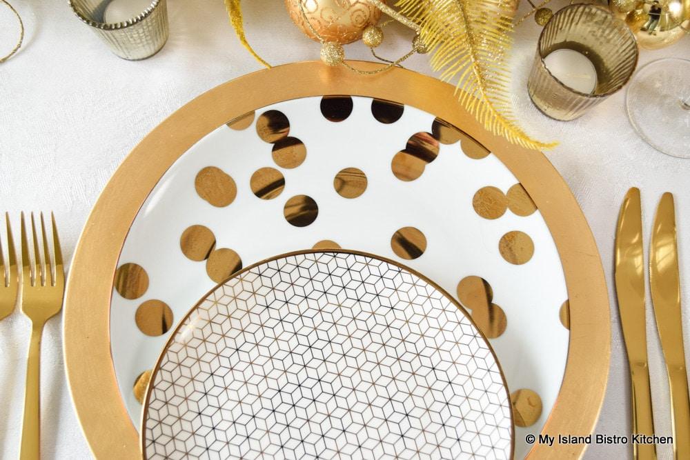 Luxe by Ciroa Gold Polka Dot Porcelain Dinner Plates