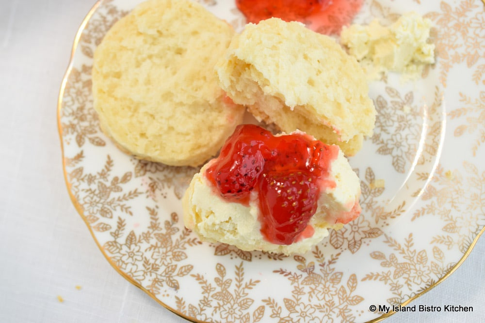 English Double Cream and Strawberry Jam on Scone