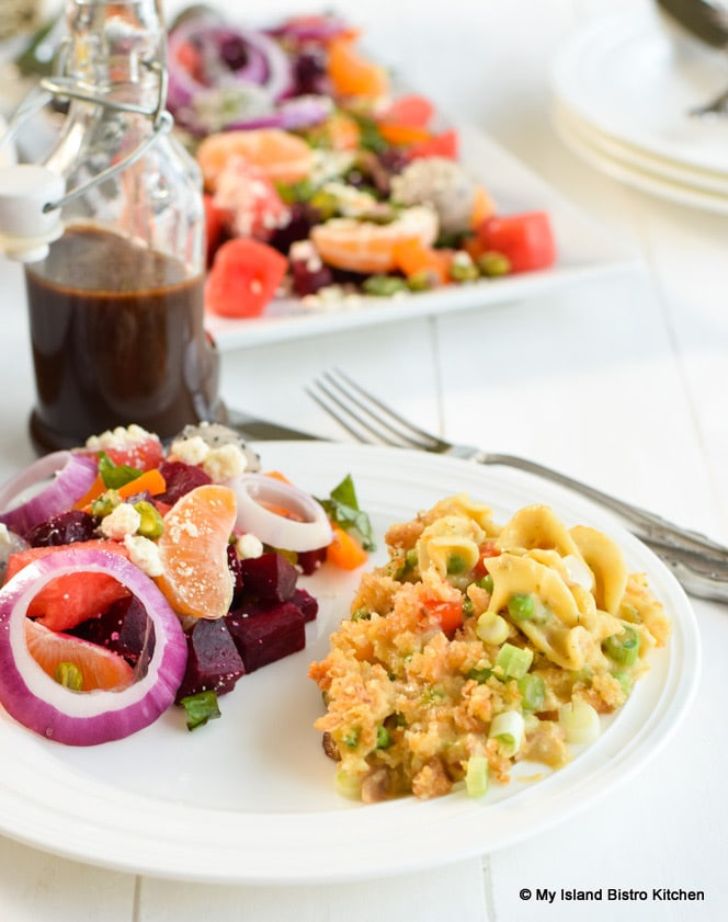 Beet, Watermelon, and Dragon Fruit side salad with Creamy Tuna Noodle Casserole