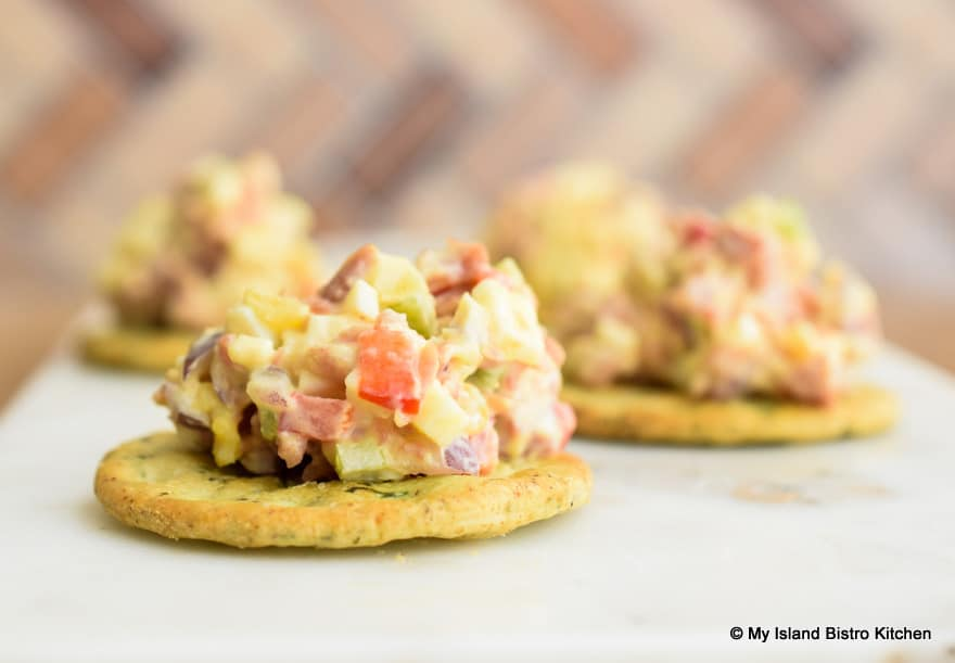 Ham Salad Filling on Crackers