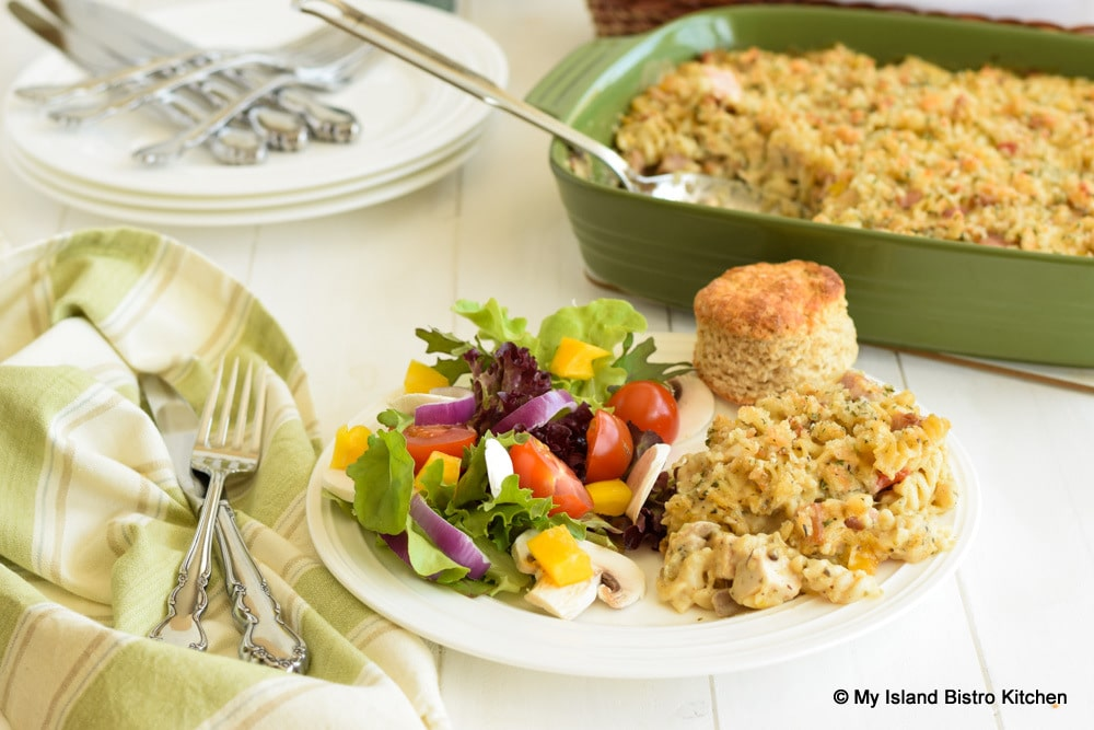 Chicken and Ham Casserole Served with a Tossed Salad and Rustic Oat Bran Biscuit