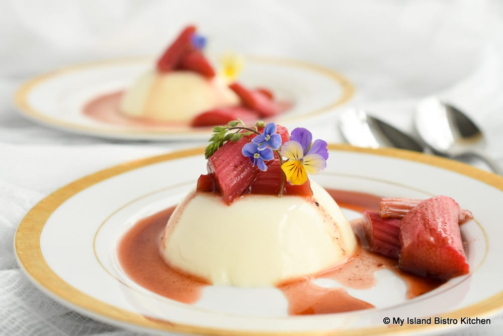 Plated Panna Cotta topped with Roasted Rhubarb