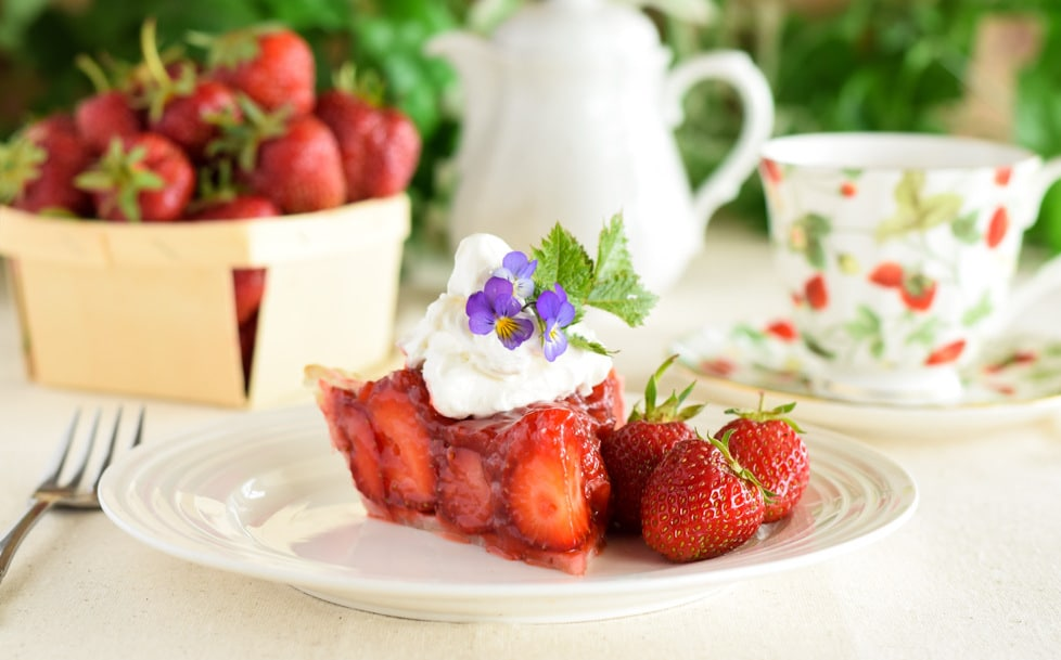 Slice of Strawberry Pie with a Pot of Tea
