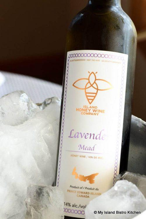 Bottle of Lavender Mead on ice