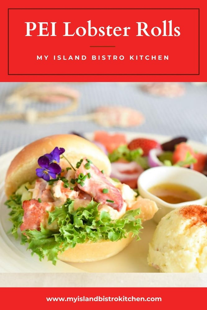 Lobster Roll Plate with Potato Salad and Green Salad