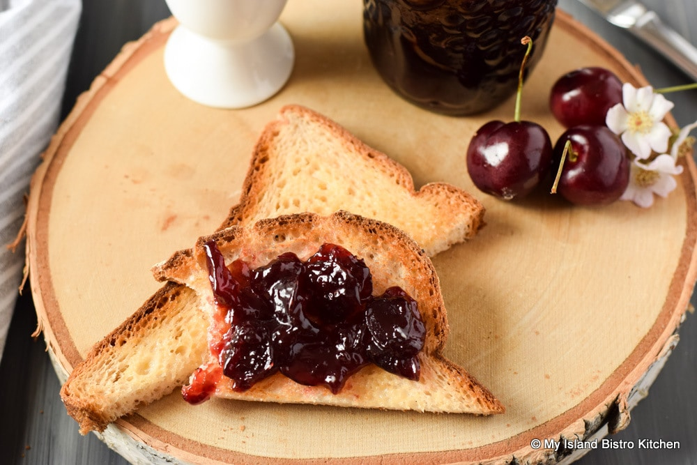 Cherry Jam on slice of toast