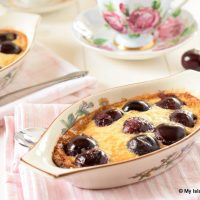 Au Gratin Dish Filled with Cherry Clafoutis