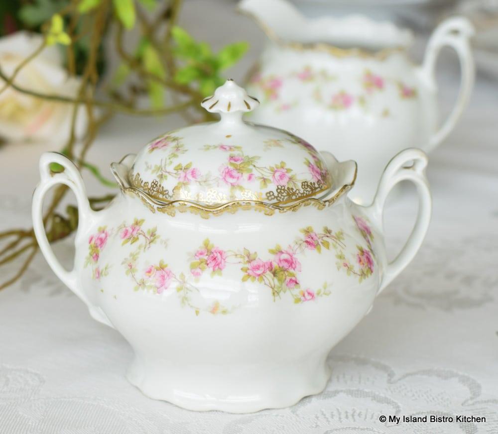 MZ Austria White and Pink Suga Bowl