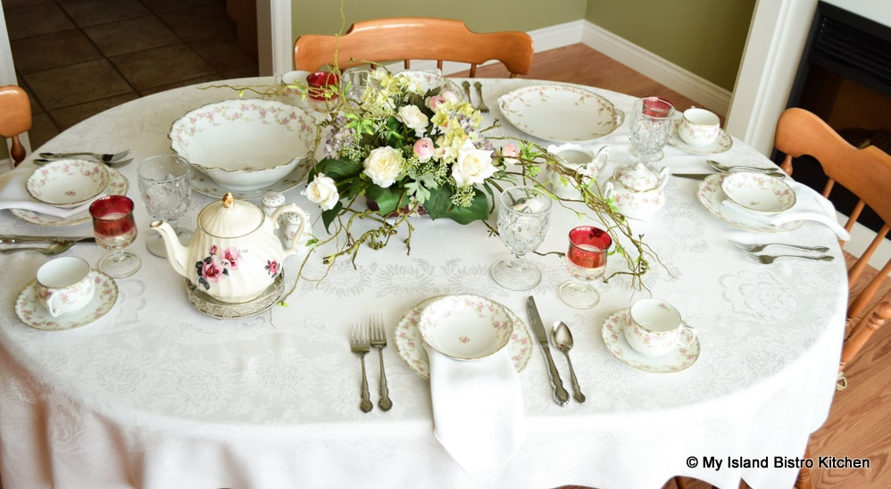 Table set with Victorian teaset ready for teatime