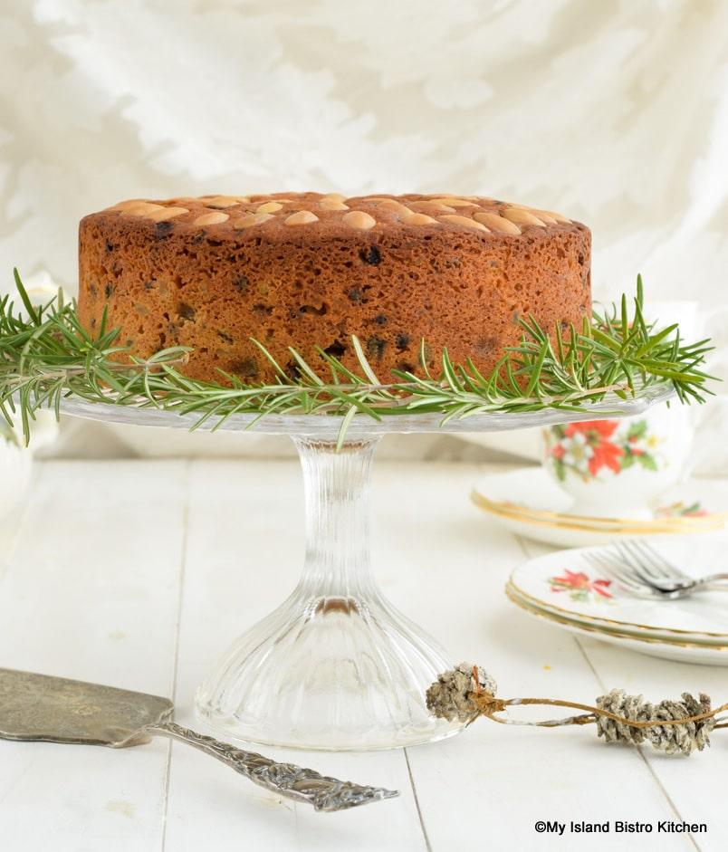 Christmas Cake on Tiered Cake Plate