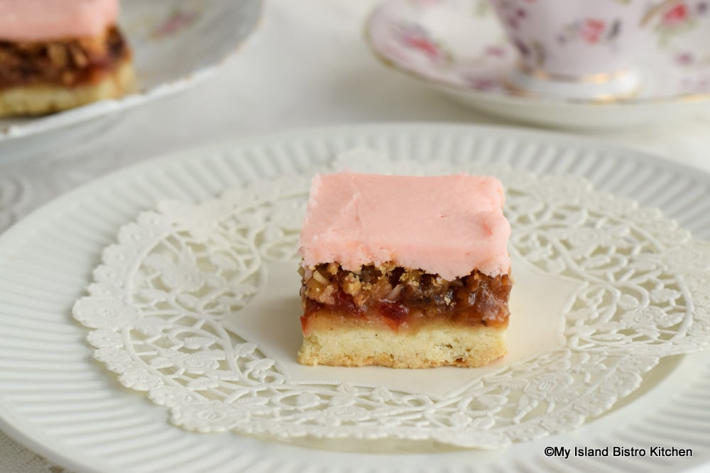 Pretty Pink Shortbread Square on Plate