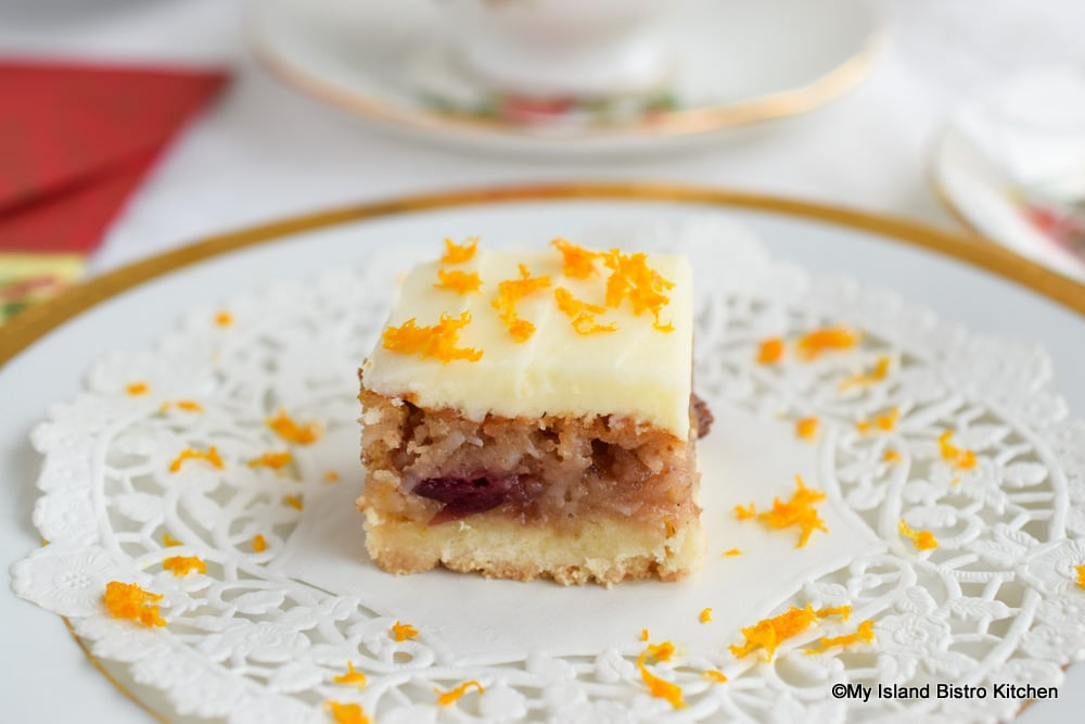 Cranberry Square topped with grated orange rind