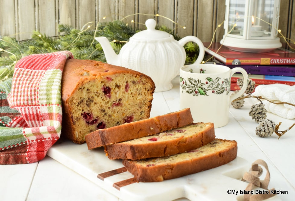 Slices of Christmas quick bread ready for teatime