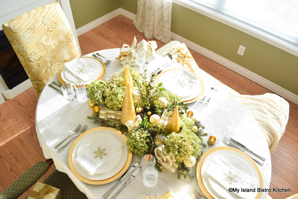 Top-down view of Christmas Tablesetting Featuring Dried Hydrangea