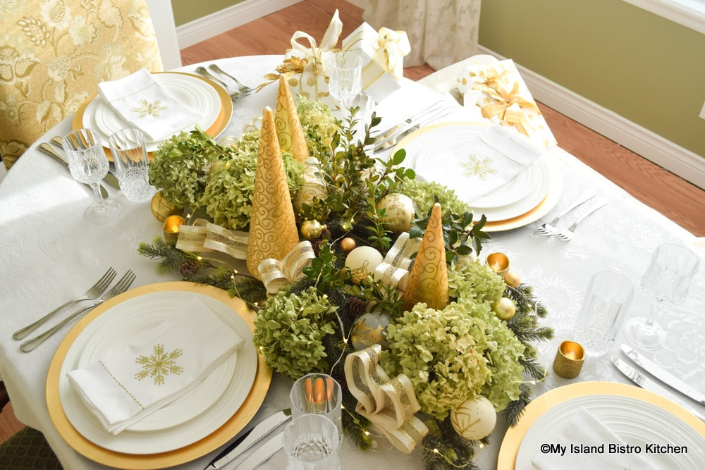 Top-down view of Hydrangea and Holly Tablescape
