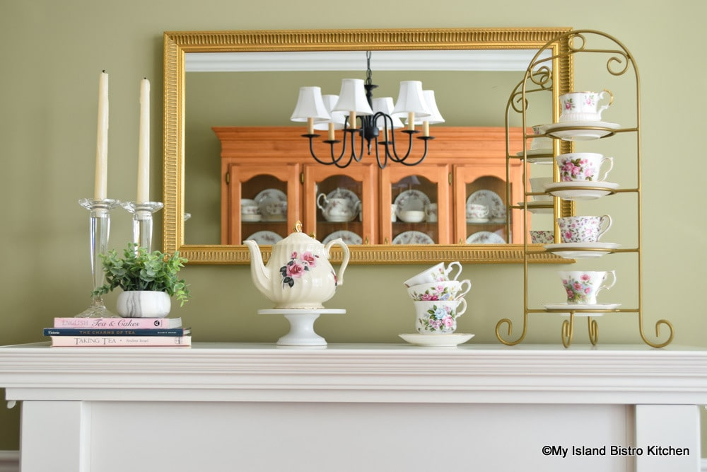 Mantle Display of Teacups and Teapot