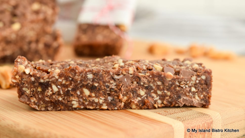 Close-up of Roasted Peanut and Mocha Energy Bars on cutting board