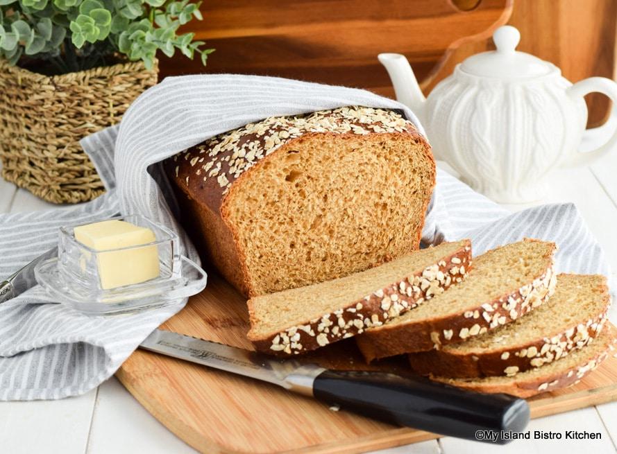 Porridge Bread with cut slices on bread board