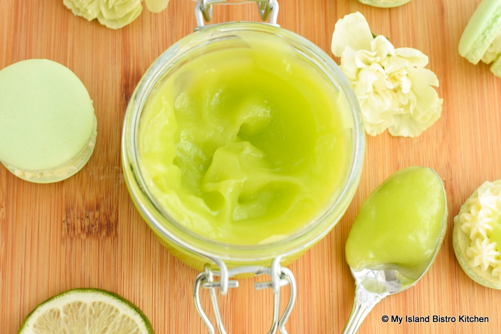 Glass jar filled with Lime Curd