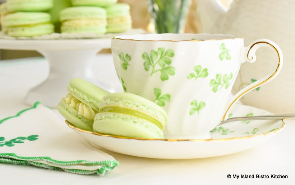 French Macarons with Cup of Tea