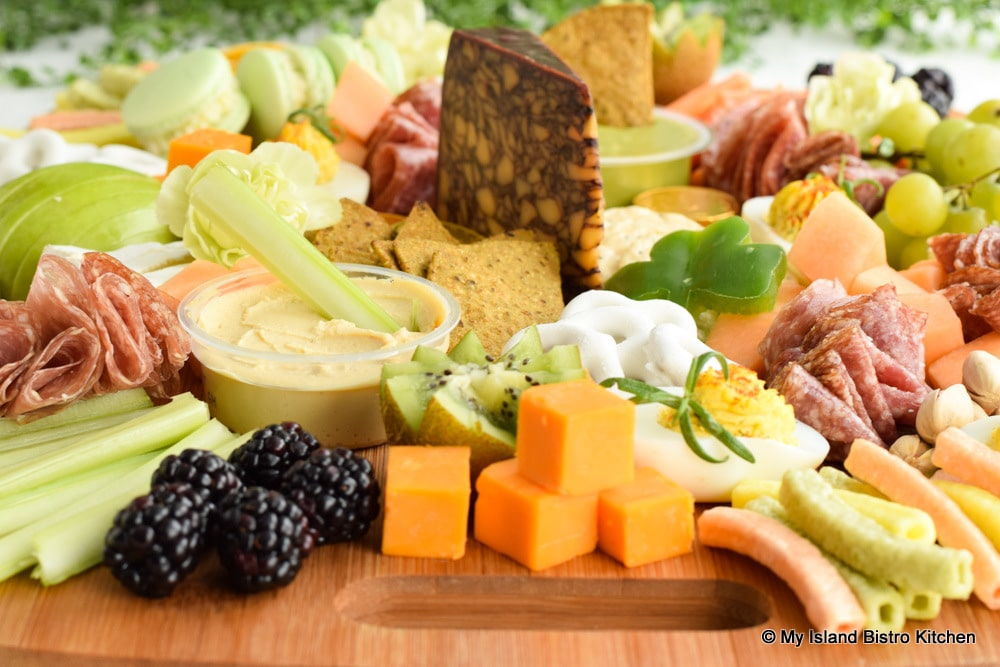 Overall view of a full grazing board