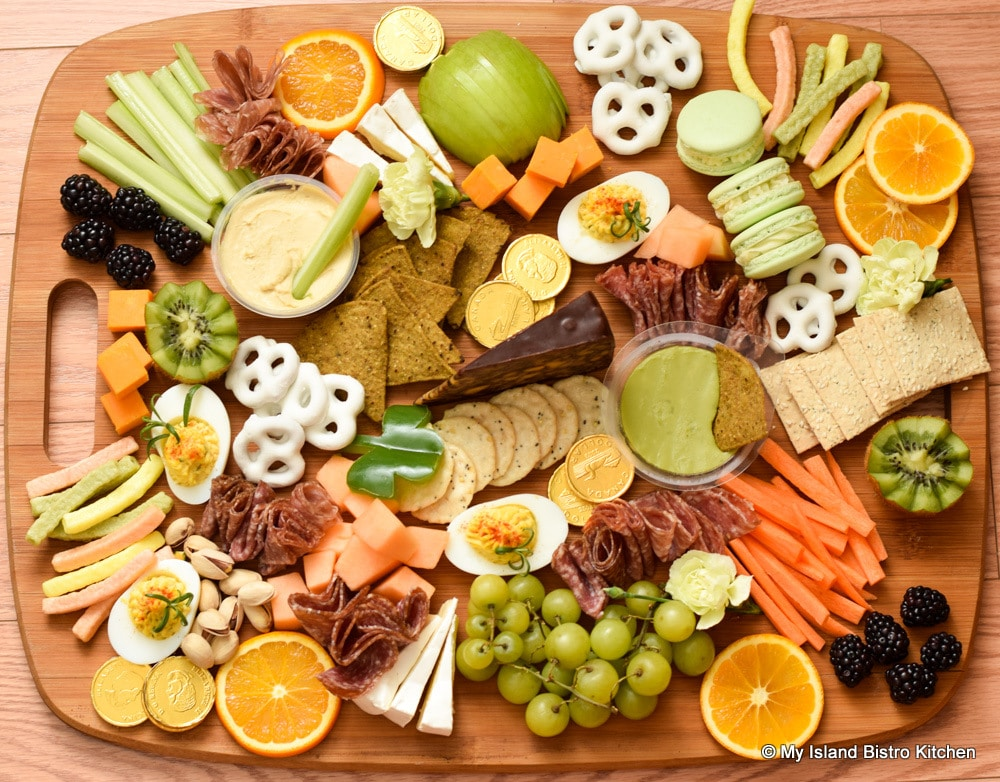 Board topped with munchies for grazing