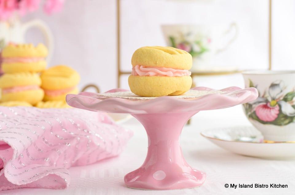 Pretty Sandwich Cookie on Pink Pedestal Plate