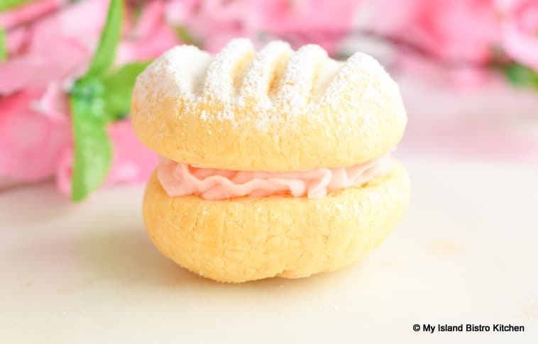 Sandwich Cookie with Pretty Pink Icing and Dusted with Icing Sugar