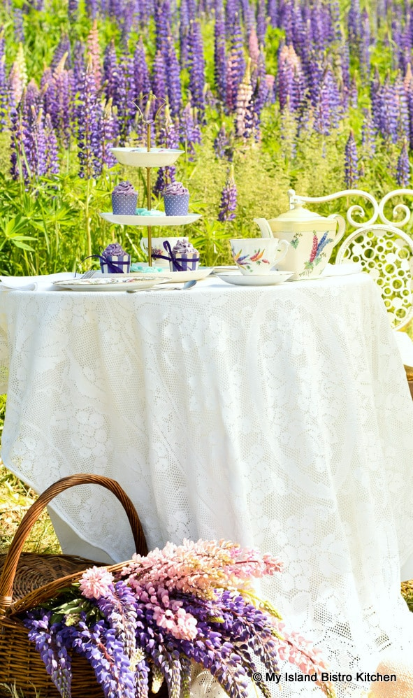 Tea table in a field of lupins