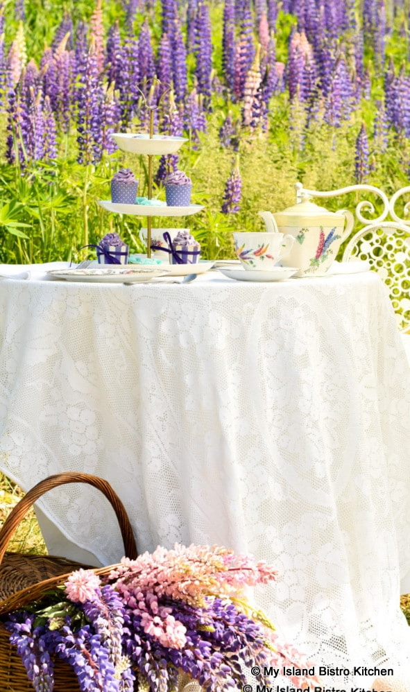 Tea Table in Field of Lupins