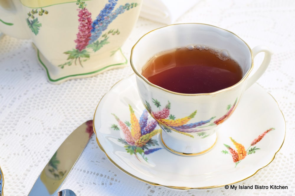 Pretty lupin-themed teacup
