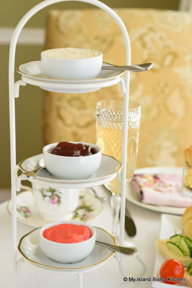 Three-tiered mini server filled with scone toppings