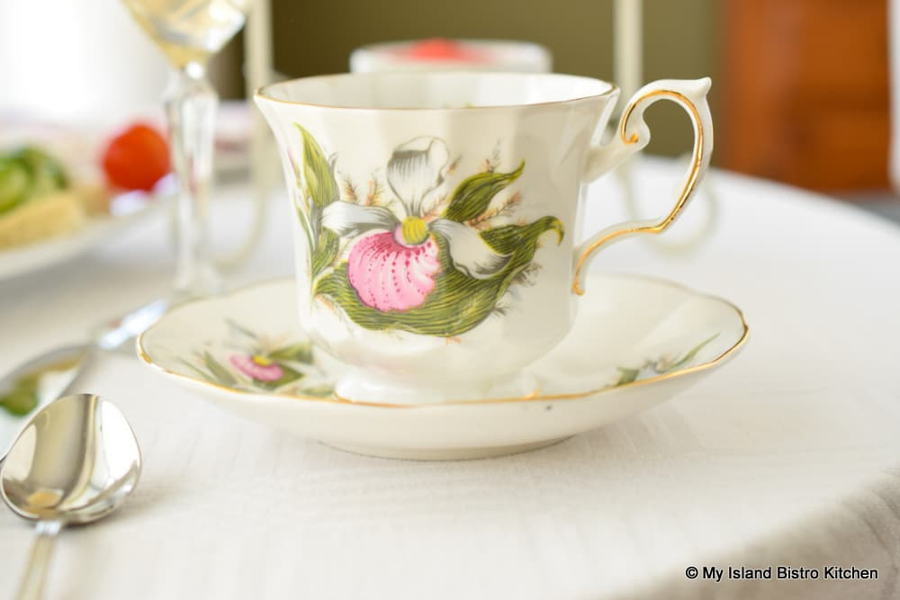 Teacup featuring Lady's Slipper