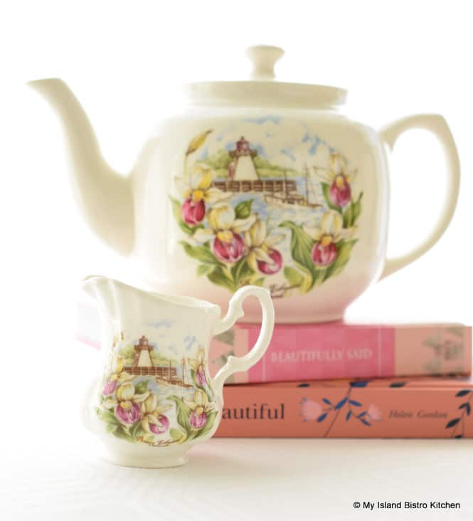 Matching Teapot and Creamer with Lady's Slipper Pattern