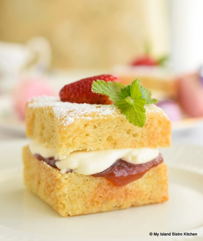 Victoria Sponge Cake filled with Strawberry Jam and Whipped Cream
