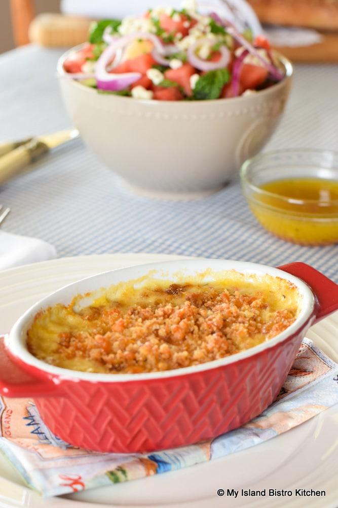 Seafood Casserole with salad
