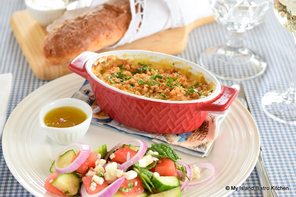 Seafood Casserole with Watermelon and Cucumber Salad